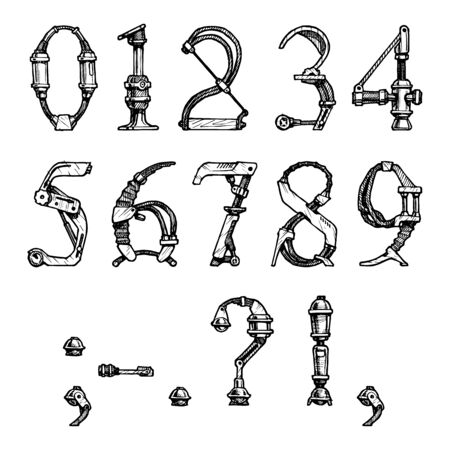 steampunk letter  made of different technical pieces  pipes, blocks, screws, etc  Stylized as engraving  Numbers and punctuation marks Ilustrace