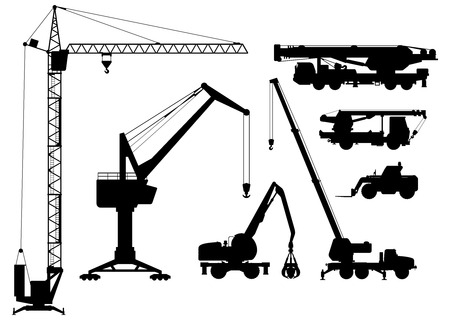 Vector clipart of  building technique silhouettes  black and white illustration  Vector