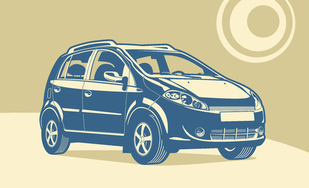 smallest: micro car illustration on abstract beige background