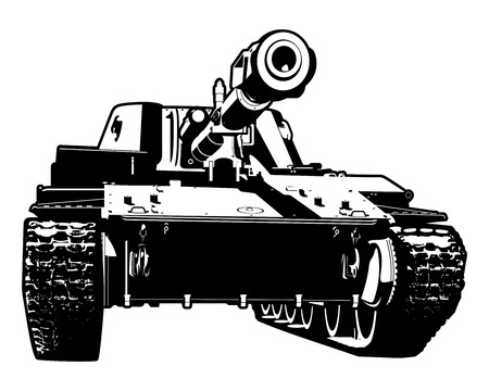 Vector black and white illustration of heavy tank