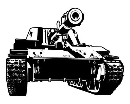 Vector black and white illustration of heavy tank 版權商用圖片 - 30564761