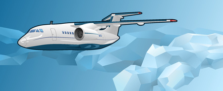 monoplane: Aircraft illustration on the background of polygonal stylized sky