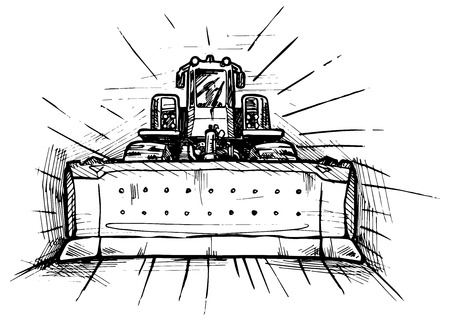 dozer: vector black and white illustration of bulldozer stylized as engraving  Illustration