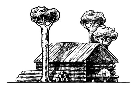 vector black and white illustration of sawmill stylized as engraving  Vector