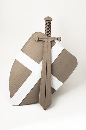 photo of medieval sword and shield  made of cardboards Zdjęcie Seryjne