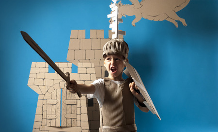 cartoon knight: Photo of the boy in medieval knight costume made of cardboards. This decorations are made specially for this photosession by me.