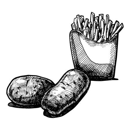 prepared potato: illustration of a potato stylized as engraving.