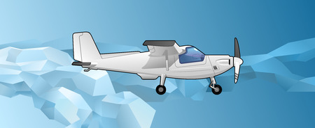aeronautics: illustration of a light aircraft on the background of polygonal stylized sky. Simple gradients only - no gradient mesh.