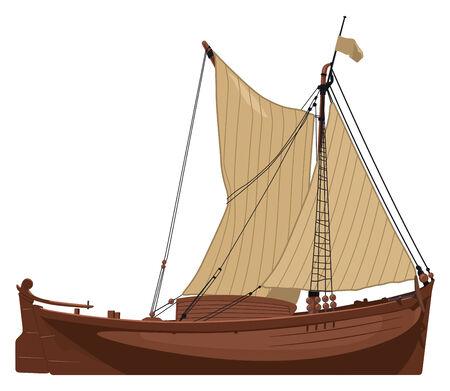 barca da pesca: illustrazione vettoriale di una vecchia barca a vela olandese. Semplice sfumature solo - nessuna sfumatura delle maglie.