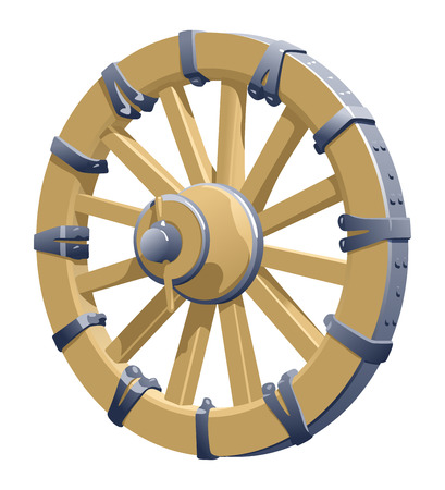 wooden vector mesh: vector illustration of a old wooden wheel. Simple gradients only - no gradient mesh.