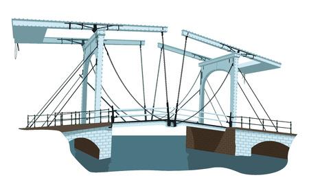 drawbridge: vector illustration  of old bridge over Amstel river in Amsterdam, Holland