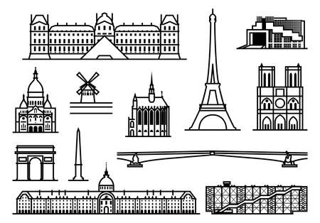 notre dame de paris: Paris. Famous landmarks and sights. outline illustration.