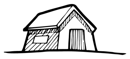 detached: Hand-drawn drawing of a Detached House.