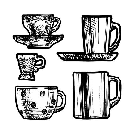 demitasse: Illustrazione in bianco e nero di tazze stilizzata come l'incisione. Vettoriali