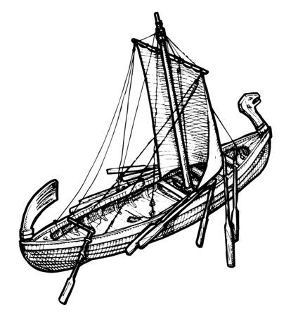 vector illustration of an old ship stylized as engraving. Vector