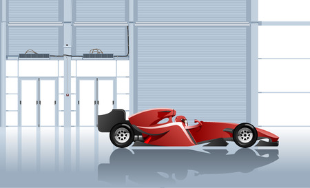 Vector illustration of the racing car in garage. Simple gradients only, no gradient mesh. Vector