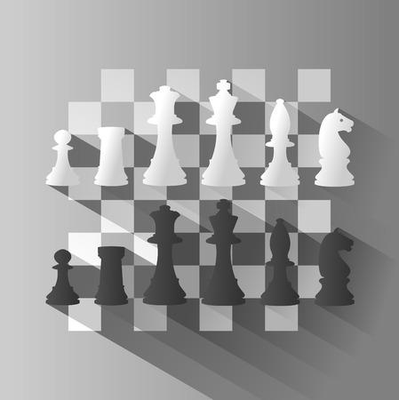 チェスの図とのチェスボード。長い影を持つベクトル イラスト。