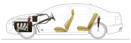 Cutaway Car Illustrations. Simple gradients only, no gradient mesh.