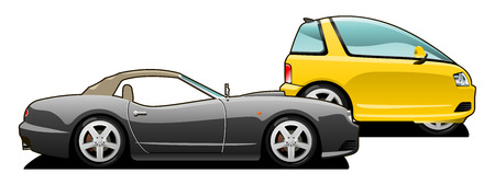 smallest: vector illustration of  sports car and tiny car. Simple gradients only - no gradient mesh. Illustration