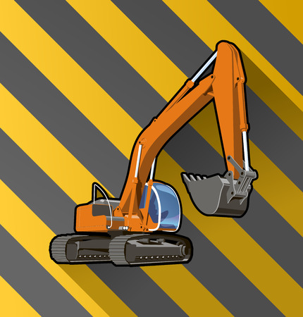 earthmoving: Vector color illustration of an excavator on black and yellow stripped background.