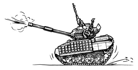 Vector drawing of heavy tank stylized as engraving in comics style Vector
