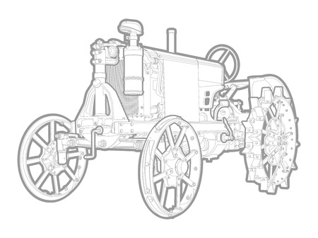 agronomics: black and white illustration of tractor