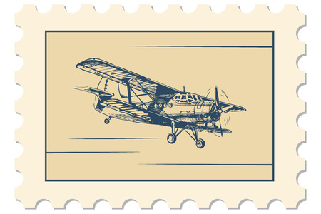 illustration of postage stamp with flight picture