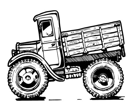 black and white illustration of retro lorry stylized as engraving. Иллюстрация