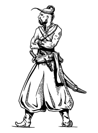 qameez: illustration of traditional Ukrainian character in Cossack hand drawing style