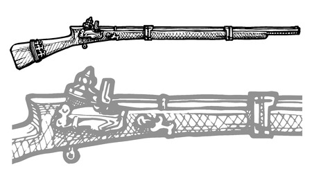 musket: Vector black and white illustration of old musket stylized as engraving.