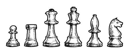 caballo de ajedrez: Vector ilustración en blanco y negro de ajedrez estilizado como grabado