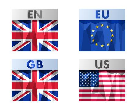 eu: Great Britain, EU, USA  flags icons set in polygonal style