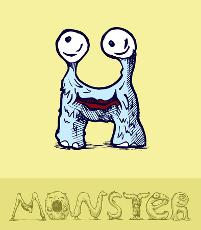 Illustration of  a font made of monsters stylized as engraving. Letter h Vector