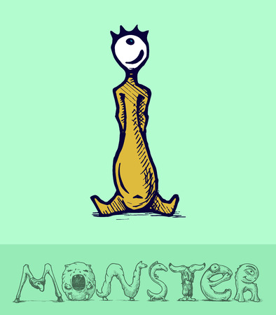Illustration of  a font made of monsters stylized as engraving. Letter i Vector