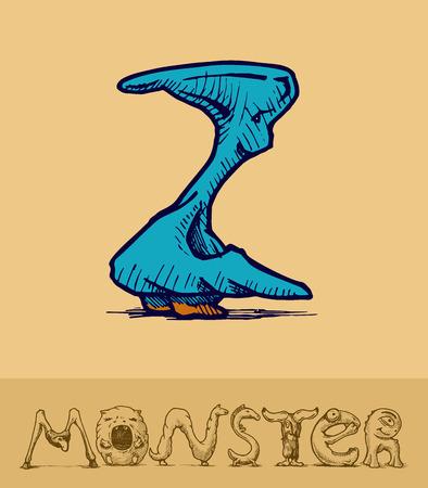 buchstabe z: Illustration einer Schrift von Monstern gemacht stilisiert als Gravur. Letter z