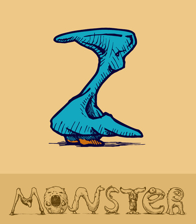 Illustration of  a font made of monsters stylized as engraving. Letter z Vector