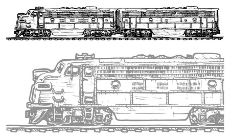 vector illustration of a diesel locomotive stylized as engraving Vector
