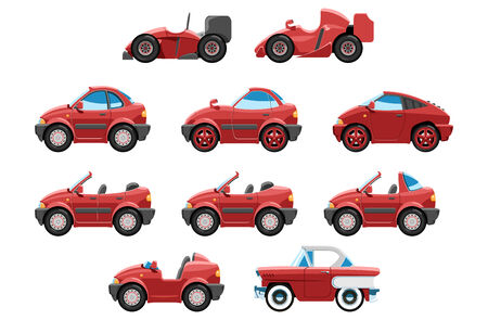 formula car: series of red sport cars with different bodies