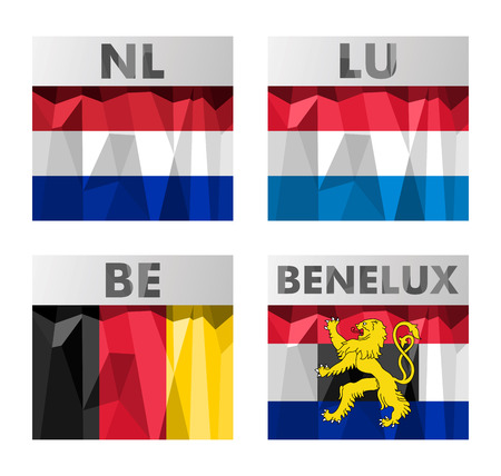 A set of Benelux countries flags in polygonal style. Netherlands, Luxembourg, Belgium and Benelux.