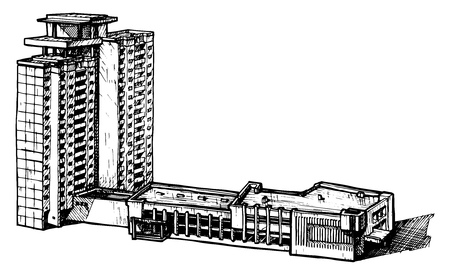 multistorey: vector illustration of a multi-storey building  stylized as engraving