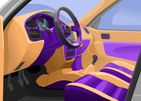 Vector illustration of a sport  car interior. View from the opened door