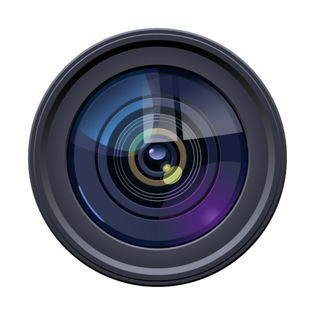 illustration of colorful camera lens on white background. Simple gradients only, no gradient mesh.