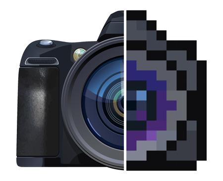 reflex camera: vector  illustration of Reflex camera. Half is photo real, half is pixel art stylized.