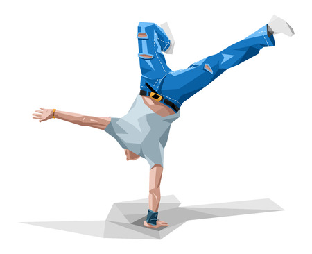 vector  illustration in polygonal style of a guy dancing break-dance
