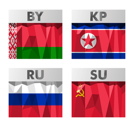 Totalitarian countries Byelorussia, DPRK, Russia, USSR flags icons set in polygonal style Vector