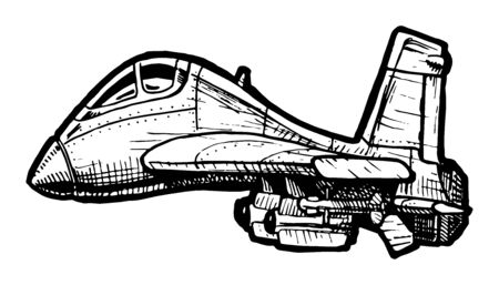 jetplane: Vector drawing of Fighter aircraft stylized as engraving in comics style