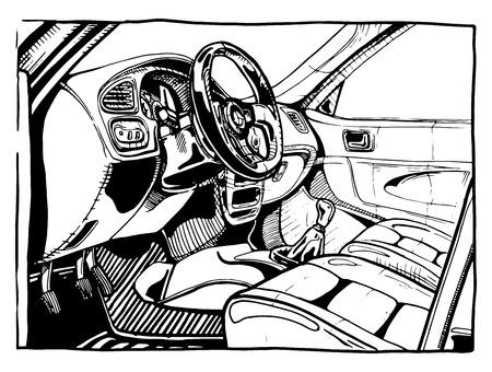 Vector Illustration eines Sportautoinnenraum stilisiert als Gravur. Ansicht von der geöffneten Tür. Vektorgrafik