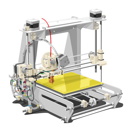 Vector illustration of a 3D printer on white background. Solid fill only, no gradients.