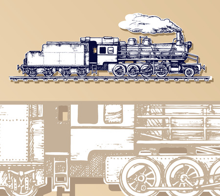black train: vintage train. Illustration