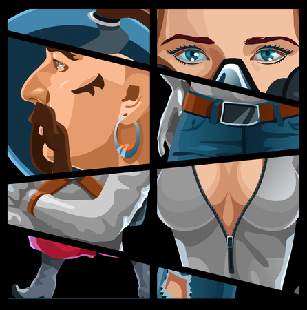 breast comic: vector color illustration of a  comic book page. Simple gradients only, no gradient mesh. Illustration